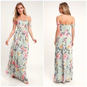 NWOT Lulus Harmonious Love Floral Mint Dress